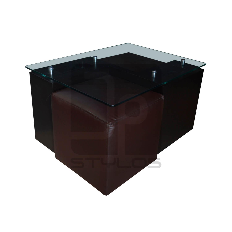 Alba mesa de centro con puff jp stylos muebler a - Disenos de mesas de centro para sala ...